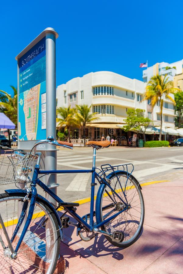 Parked Bicycle on Ocean Drive Miami Beach USA. Parked Bicycle on sidewalk on Ocean Drive in Mi South Beach, USA stock photo