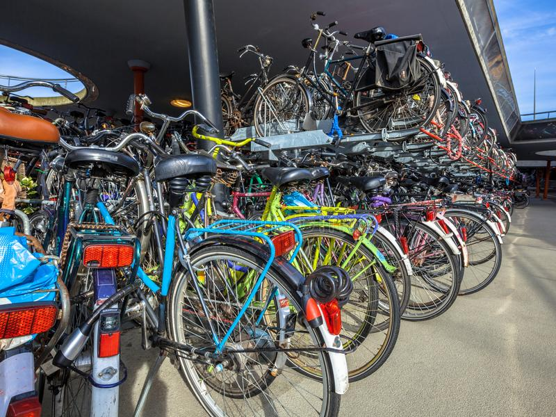 Parked bicycles. On Groningen station. The city of Groningen has been elected & x22; most cycling friendly city of the Netherlands& x22; for 3 years in a row stock photography