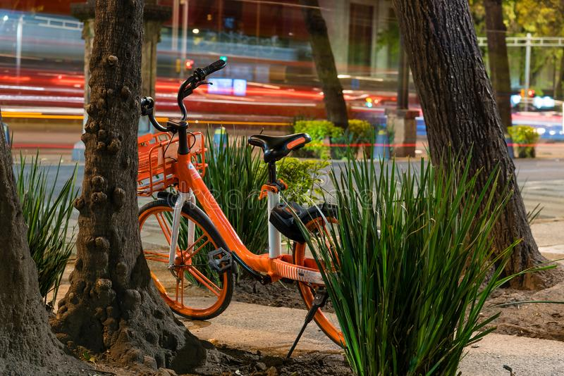 Parked bicycles in the street. Night scene royalty free stock photography