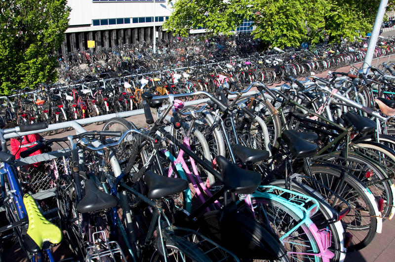 Parked Bikes In Amsterdam Royalty Free Stock Photos