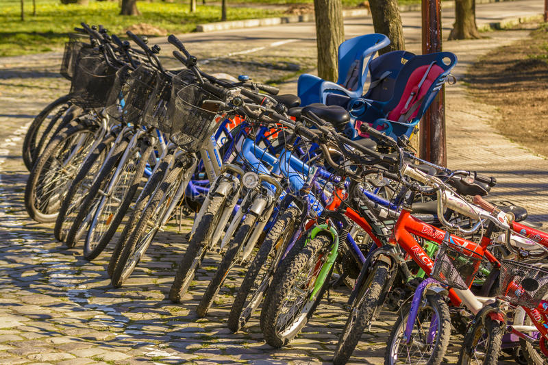 Parked bikes royalty free stock image