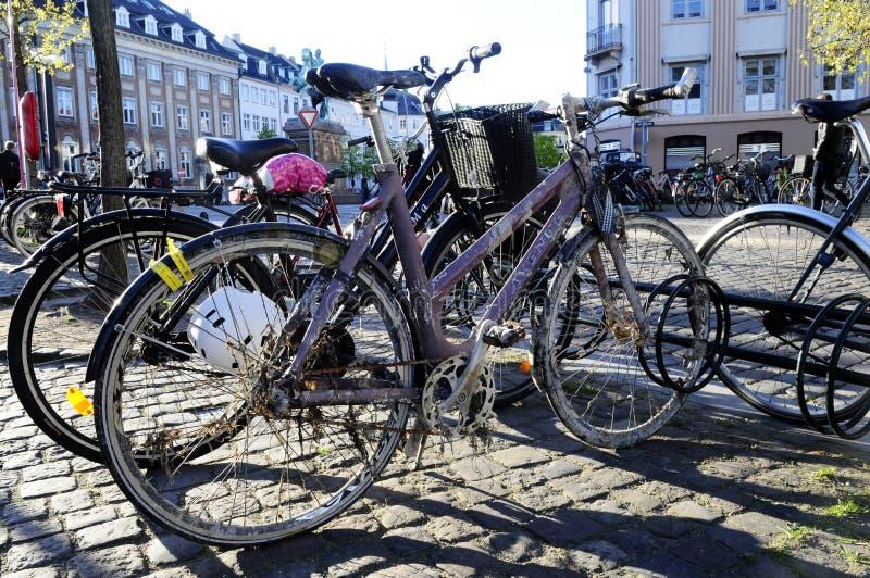 Parked Bikes - Nordic European City Scene stock photography