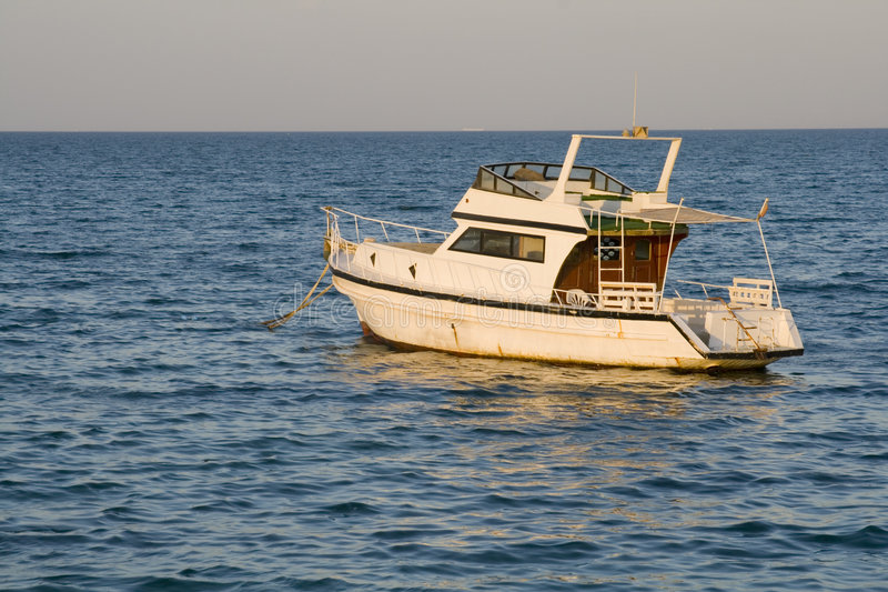 Parked Boat - Red Sea Beach royalty free stock image