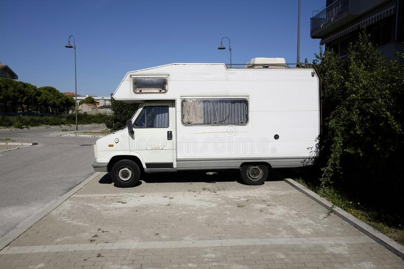 Parked camper. In the city royalty free stock images