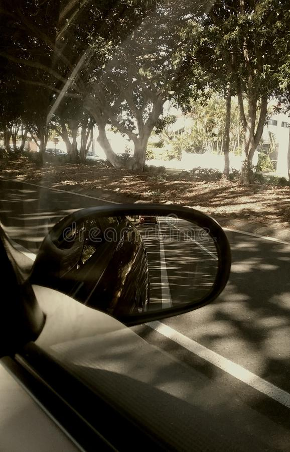 Parked Car Side Mirror stock images