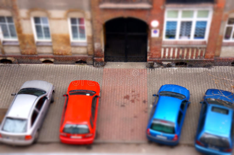Download Parked cars stock image. Image of miniature, effect, above - 27812379