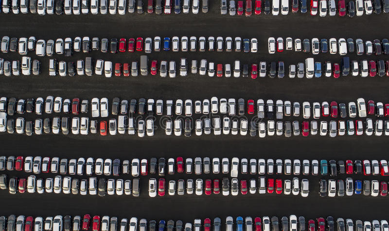 Parked cars. Aerial image of rows of parked cars royalty free stock images