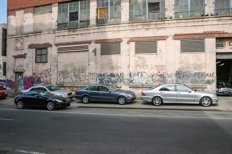 Parked cars in Manhattan royalty free stock photography