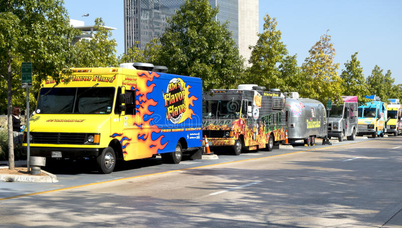 Download Parked Food Trucks At Klyde Warren Park Editorial Stock Photo
