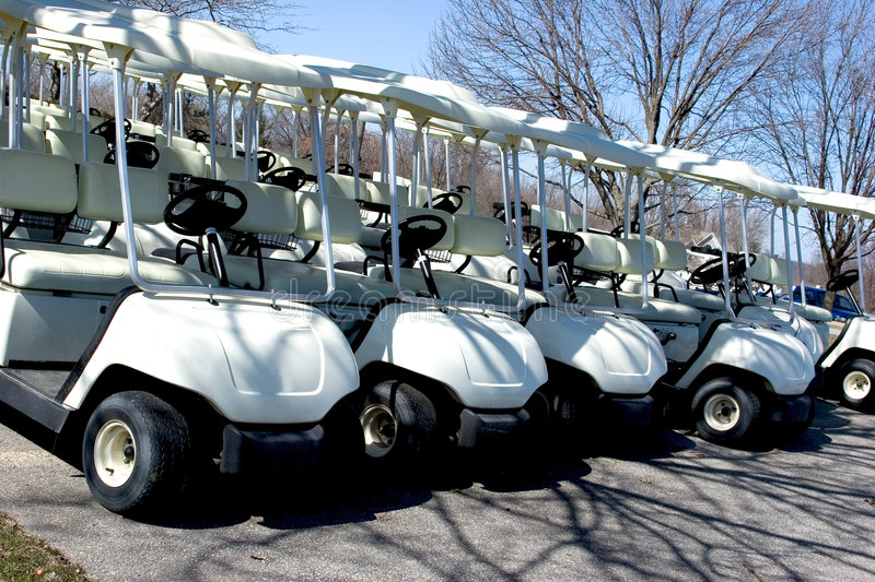 Parked Golf Carts royalty free stock photo