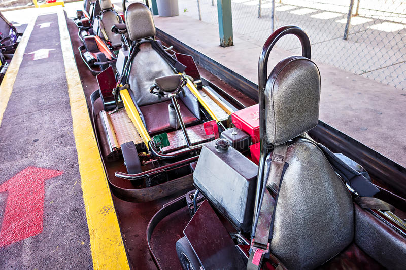 Parked racing karts waiting for riders stock photography