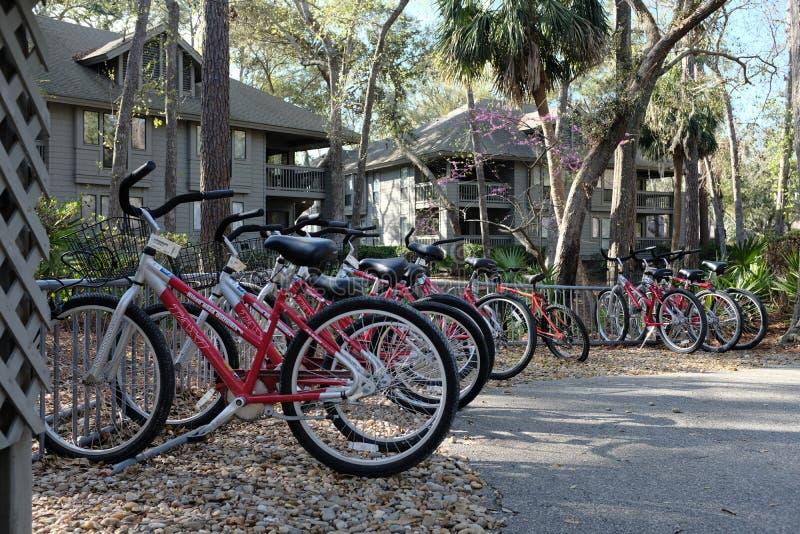 Parked Rental Bicycles Popular Alternative Transportation stock photos