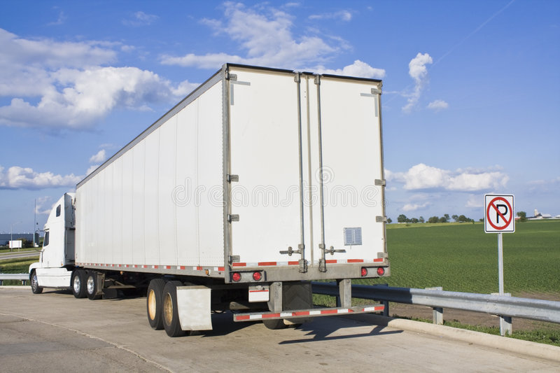Parked Semi-Truck stock images