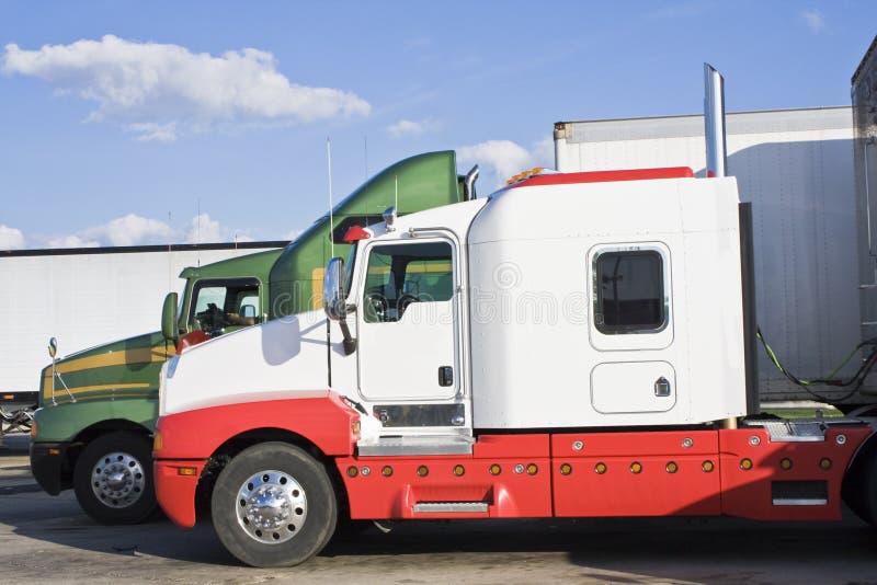 Parked Semi-trucks stock images