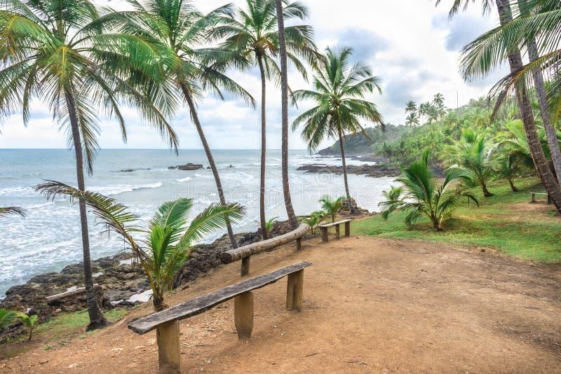 Parkeerplaats bij het Havaizinho-strand Itacare stock afbeelding