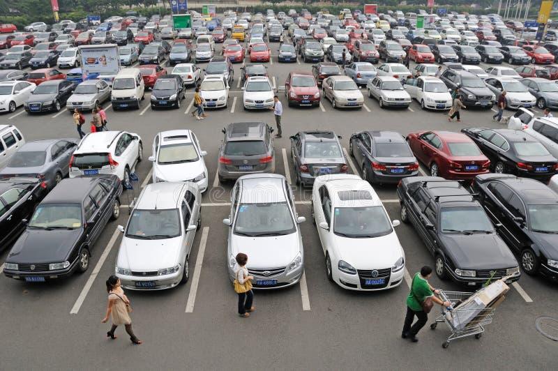 Parkeerterrein in chengdu stock afbeeldingen