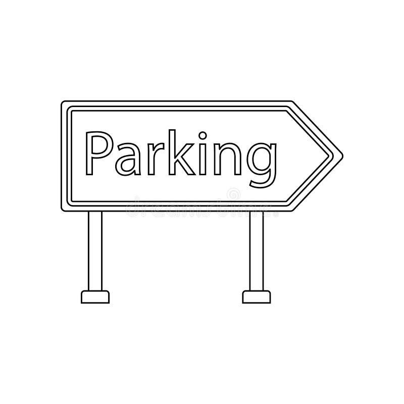 Parkeerterrein gekleurd pictogram E Overzicht, dun lijnpictogram voor vector illustratie