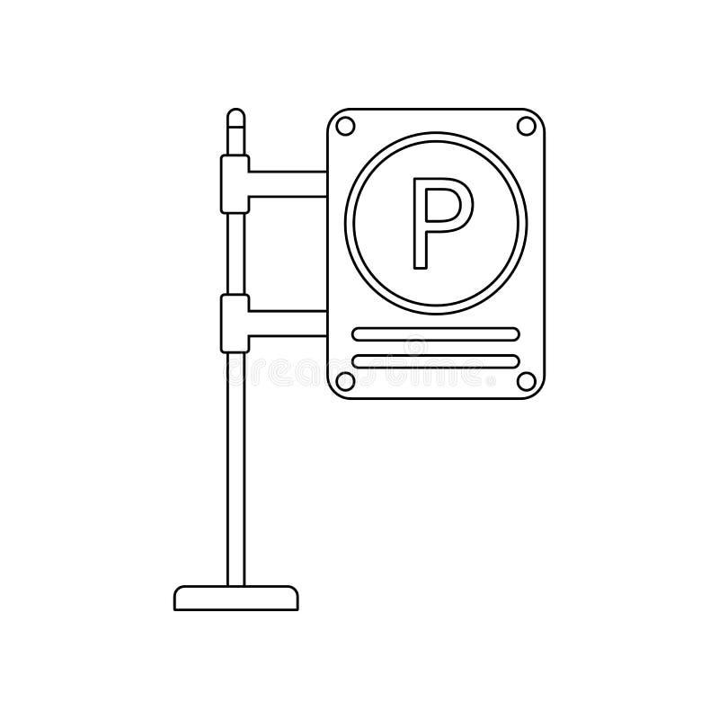 Parkeerterrein gekleurd pictogram E Overzicht, dun lijnpictogram voor stock illustratie