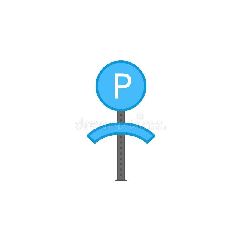 Parkeerterrein gekleurd pictogram Element van verkeersteken en verbindingenpictogram voor mobiel concept en Web apps Het gekleurd vector illustratie