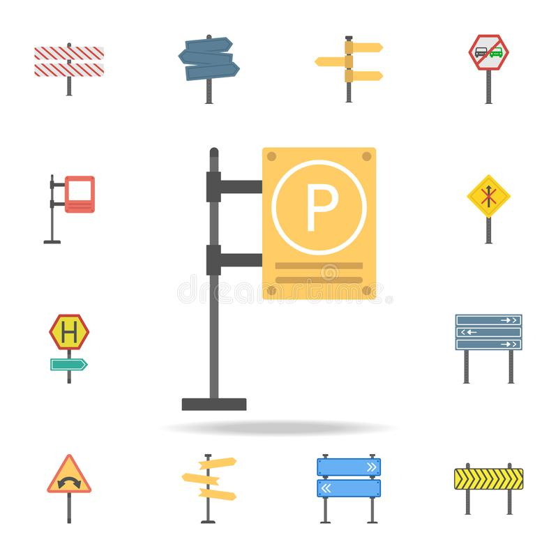 Parkeerterrein gekleurd pictogram Gedetailleerde reeks pictogrammen van kleurenverkeersteken Premie grafisch ontwerp Één van de i vector illustratie