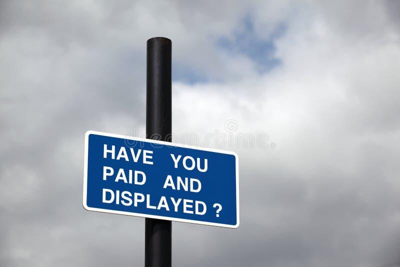 Parkeerterreinteken stock afbeelding