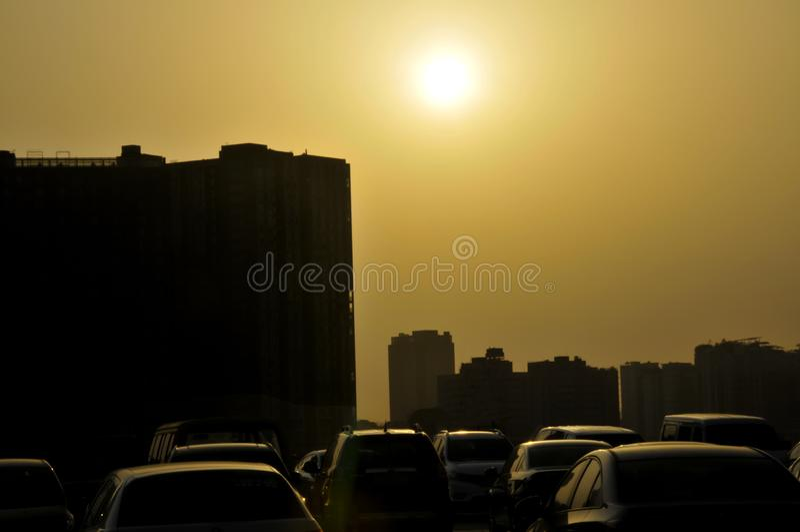 Parken im Sonnenuntergang stockfotos