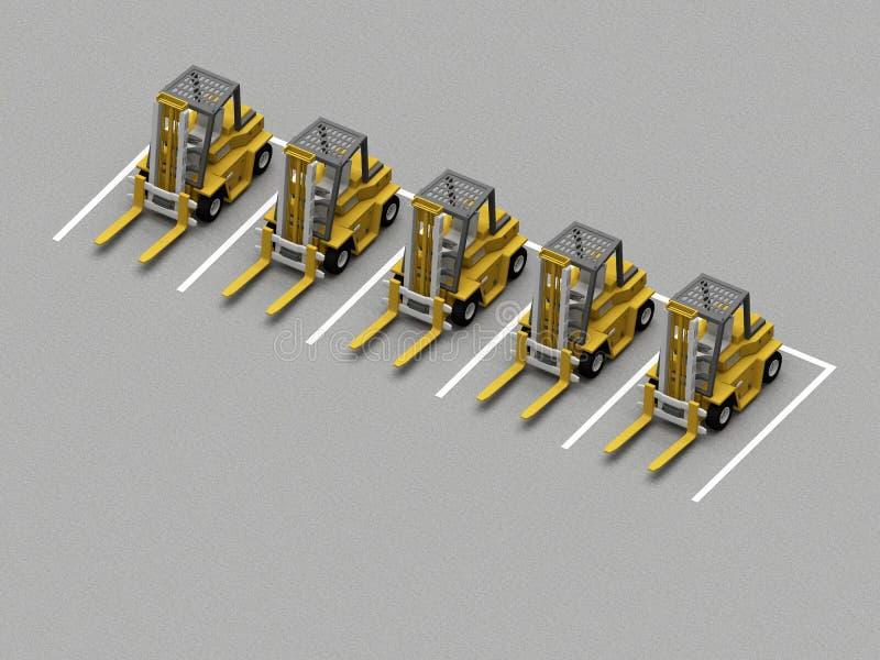 parken mit gabelstaplern stock abbildung illustration von