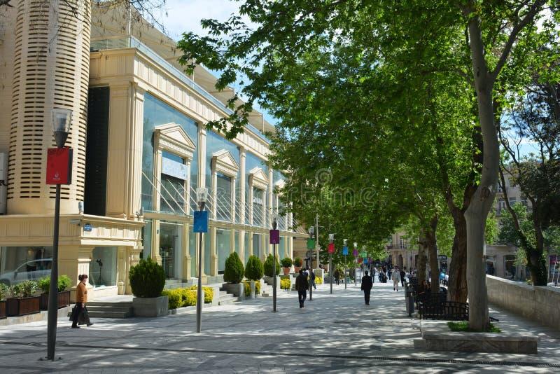 Parken van Baku stad, Fonteinvierkant stock foto's