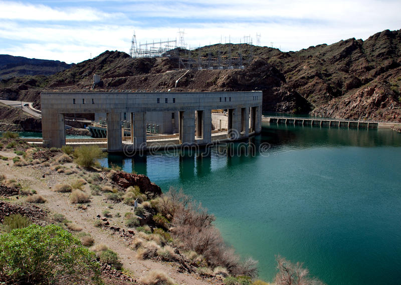Parker Dam on the border of California and Arizona stock images