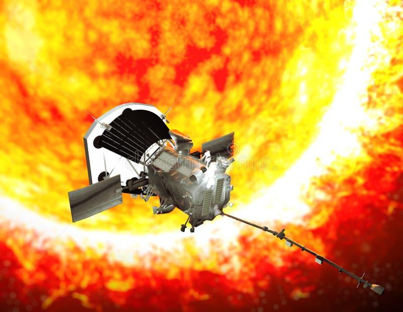 Parker Solar Probe que viaja ao sol A finalidade da ponta de prova é analisar com cuidado o Sun e seu vento solar ilustração do vetor