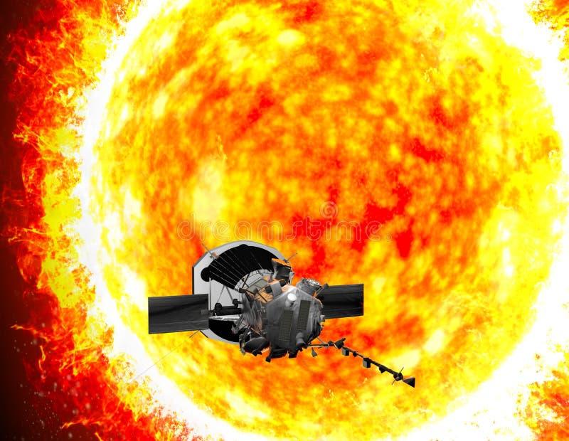 Parker Solar Probe som reser till solen Avsikten av sonden är försiktigt att analysera solen och dess sol- vind royaltyfri bild