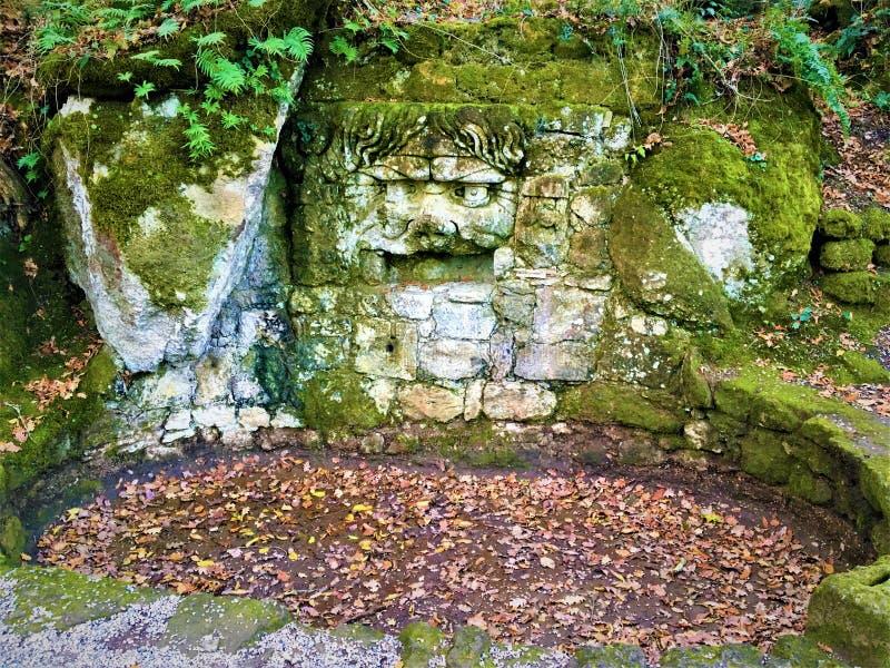 Parkera av monstren, den sakrala dungen, trädgård av Bomarzo Maskering av Jupiter Ammon royaltyfria bilder
