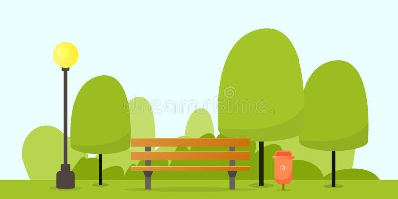 Parkera bänken med trädet vektor illustrationer