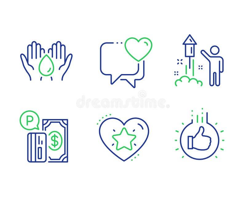 Parkera betalning och att rangordna stjärnan och den säkra vattensymbolsuppsättningen Fyrverkerier hjärta och som handtecken vekt stock illustrationer