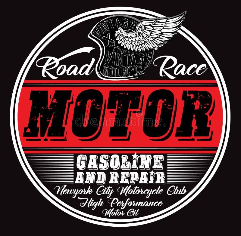 Parkera bilen i garage reparationsservice, trycket för t-skjortan i beställnings- färger, grunge royaltyfri illustrationer