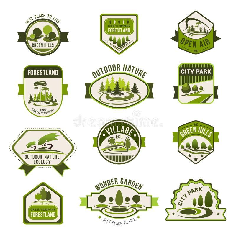 Parkera den gröna stadsträdgården, ecoen som landskap emblemuppsättningen vektor illustrationer