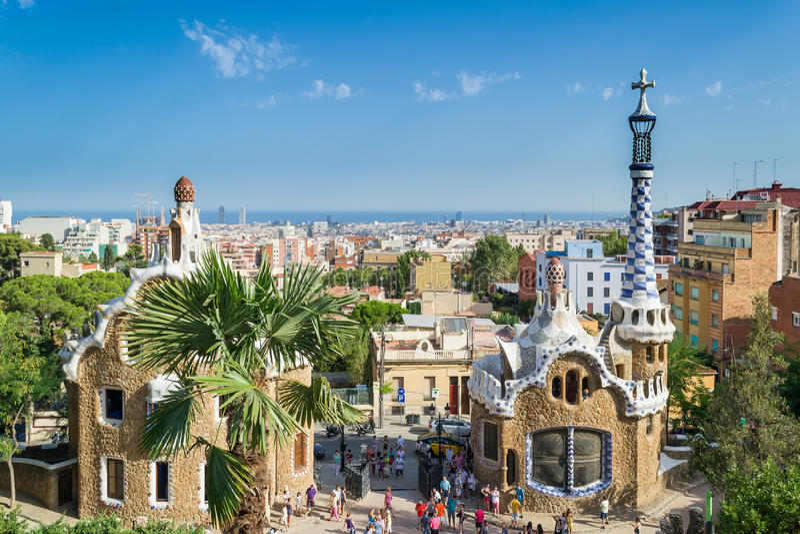 Parkera Guel, Barcelona arkivfoton