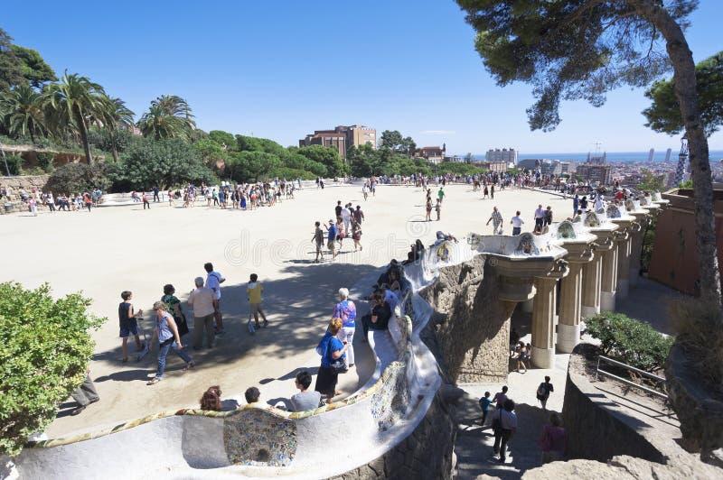 Parkera Guell, Barcelona, Spanien arkivfoton