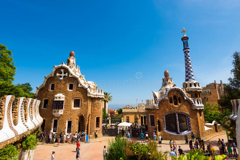 Parkera Guell - Barcelona Spanien arkivfoto