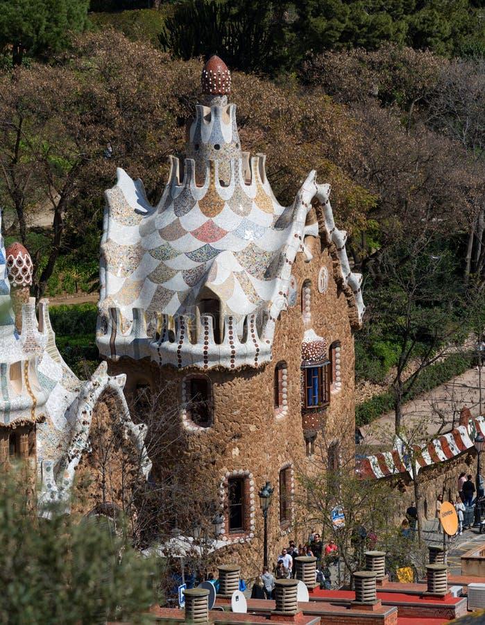 Parkera Guell, turist- gränsmärke i Barcelona arkivbild