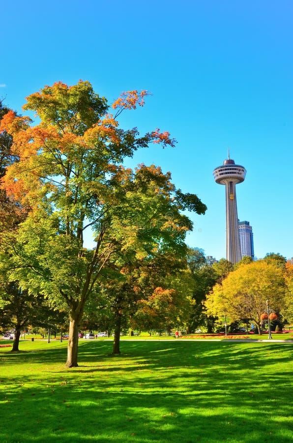 Parkera i höst i Niagara Falls, Kanada arkivbild