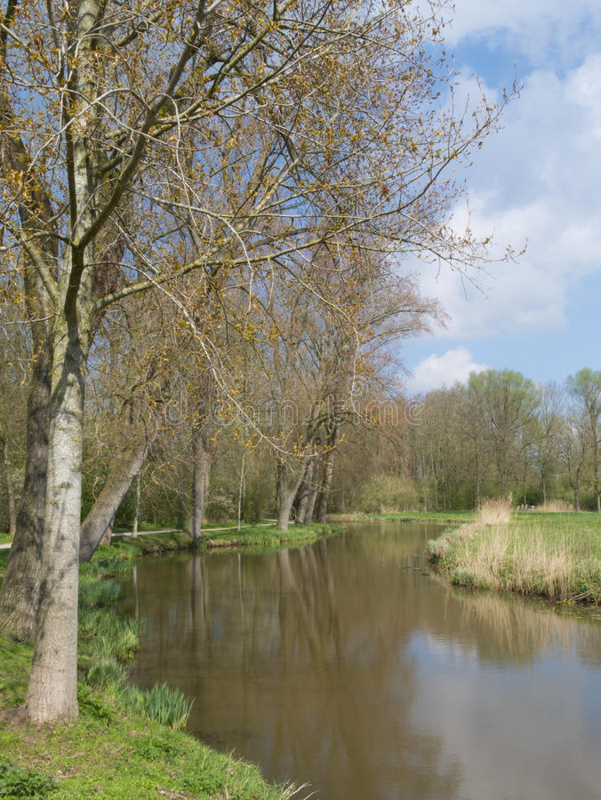 Parkera i vår i Zwolle, Nederländerna arkivfoton
