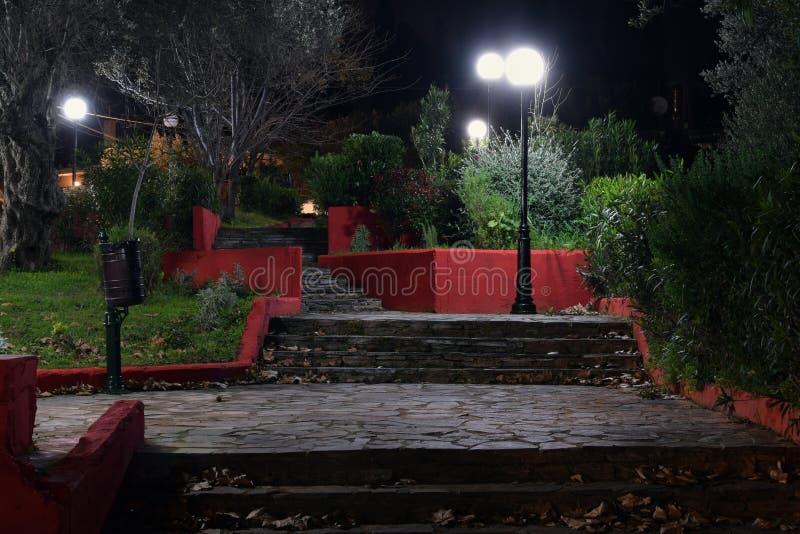 Parkera moment och gataljus på natten arkivfoto