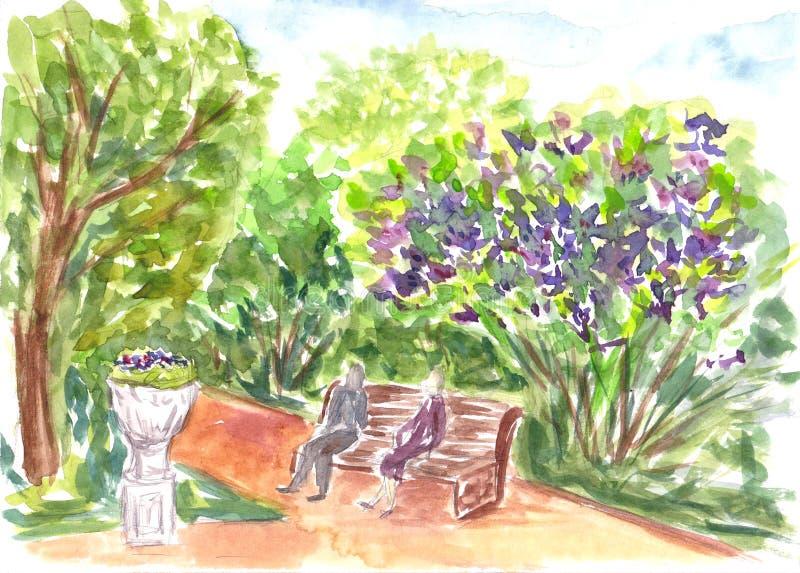 Parkera naturen som är utomhus- Den tecknade handen skissar Vibrerande vattenfärgmålning Färgrikt konstverkakvarelllandskap med t stock illustrationer