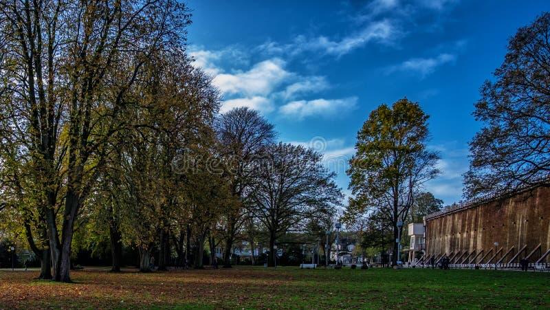Parkera och Salinen i dåliga Rothenfelde under höst med soligt väder och blå himmel arkivbild