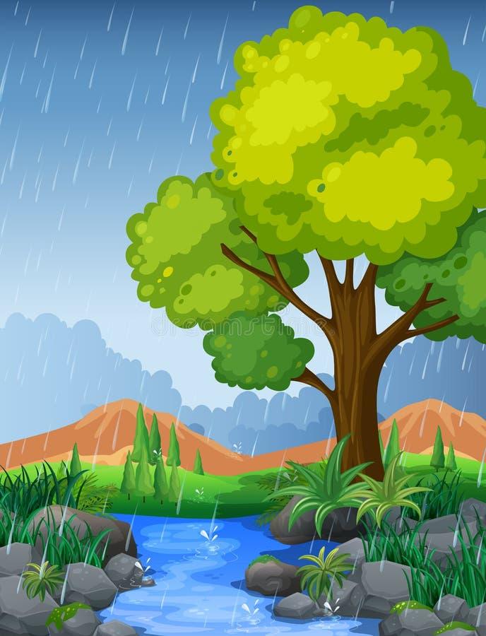 Parkera platsen i regnig säsong vektor illustrationer