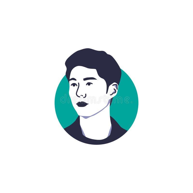 Parkera skådespelaren för vektorn för den Bo gummiframsidan isolerade koreanska illustrationen arkivfoton