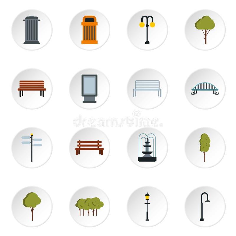 Parkera symboler ställer in, plan stil vektor illustrationer