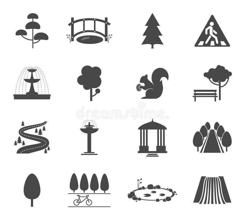Parkera symbolsvektoruppsättningen vektor illustrationer