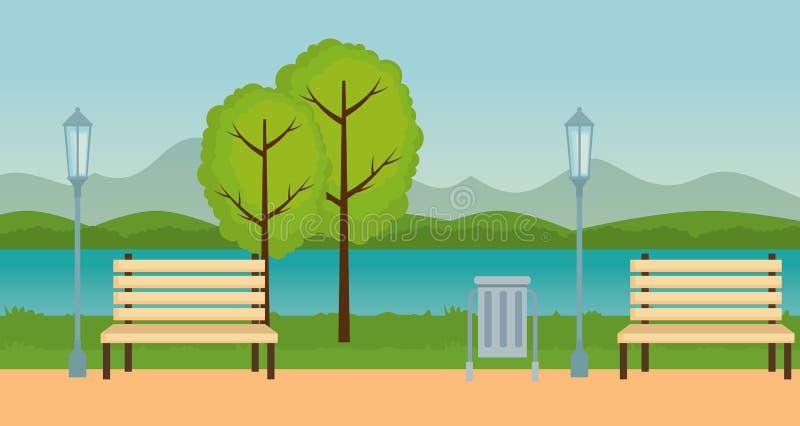 Parkera utomhus- symboler för platsen stock illustrationer